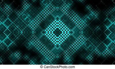 carré bleu, vj, élevé, faire boucle, technologie, fond, géométrique, résumé