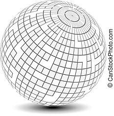 carré, globe, -, sphère, sphère, vecteur, modèle, icône, symbole, 3d