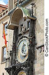 carré ville, vieux, horloge, astronomique, figure, prague