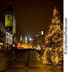 carré ville, vieux, tchèque, prague, république, noël