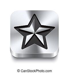 carrée, étoile, métal, bouton, -, perspektive, noël, icône