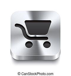 carrée, achats, métal, bouton, -, charrette, perspektive, ...