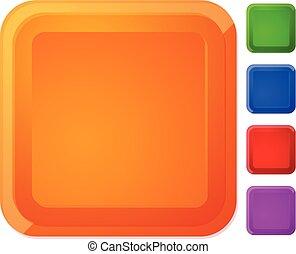 carrée, arrondi, couleur, effet, bouton, 5, souligner, bannière