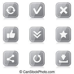 carrée, arrondi, reflet, icônes, ensemble, internet