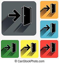 carrée, arrondi, vif, icônes, couleur, signe, sortie, backgrounds.
