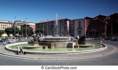 carrée, autour de, gens, naiad, rome, promenade, fontaine, république