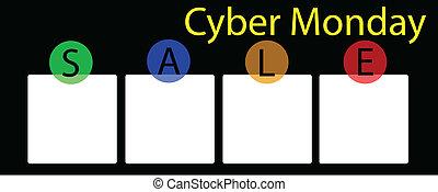 carrée, bannière, cyber, lundi, étiquette