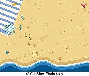 carrée, bannière, espace, vague, mer sable, copie, plage