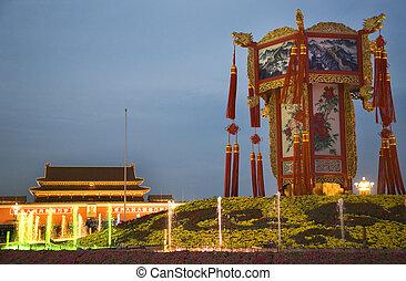 carrée, beijing, lanterne, décoration, chinois, tiananmen, grand