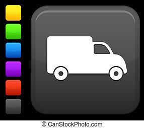 carrée, bouton, camion livraison, icône internet