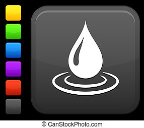 carrée, bouton, goutte, eau, icône internet