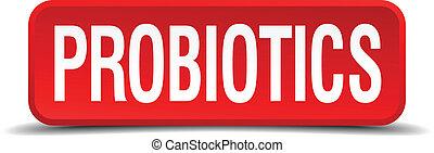 carrée, bouton, isolé, probiotics, blanc rouge, 3d