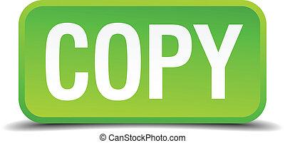 carrée, bouton, isolé, réaliste, vert, copie, 3d