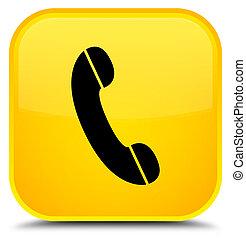 carrée, bouton, jaune, téléphone, spécial, icône