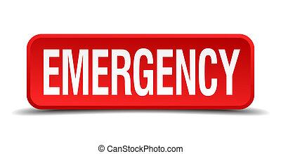 carrée, bouton poussoir d'urgence, isolé, fond, blanc rouge, 3d