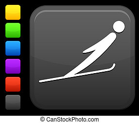 carrée, bouton, sauter, internet, ski, icône