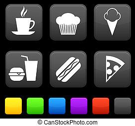 carrée, boutons, icond, nourriture, internet