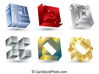 carrée, brillant, icônes