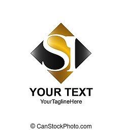 carrée, business, or, compagnie, initiale, si, conception, lettre, logo, noir, coloré, identité, gabarit