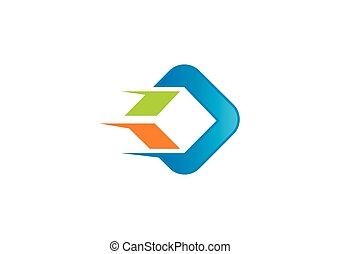 carrée, business, société, vecteur, logo, construction