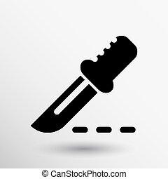 carrée, button., noir, icône internet, scalpel