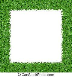 carrée, cadre, 2, vert, copy-space, herbe