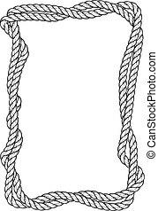 carrée, cadre, -, tordu, deux, corde, frontière, cordes,...