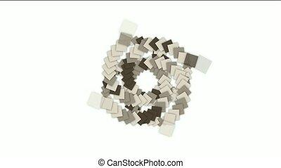 carrée, carte papier, rotation, tunnel