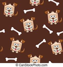 carrée, chien, modèle, os, seamless