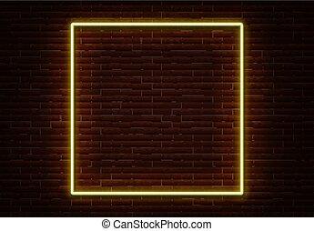 carrée, club, lumière, cadre, néon, ne, isolé, décoration, vecteur, nuit, wall., brique, signe, frontière, element.