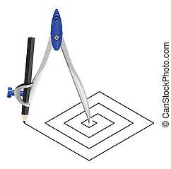 carrée, compas
