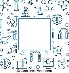 carrée, contour, chimique, vecteur, fond, chimie, frame.