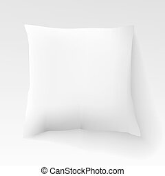 carrée, coussin, lumière, isolé, illustration, shadow., vecteur, fond, vide, blanc, oreiller