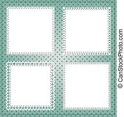 carrée, disposition, dentelle, vendange, cadre, photos