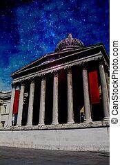 carrée, effect., national, trafalgar, ciel, galerie, royaume-uni, nuit, londres