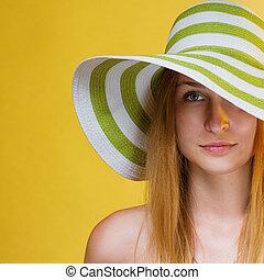 carrée, elle, jeune, récolte, joli, head., girl, chapeau