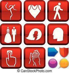 carrée, ensemble, gens, icônes, buttons., géométrique, style.