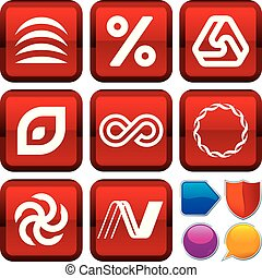 carrée, ensemble, icônes, géométrie, buttons., géométrique, style.