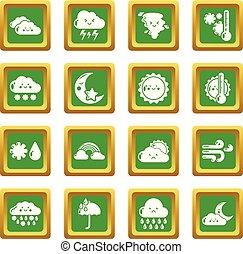 carrée, ensemble, icônes, vecteur, vert, weater