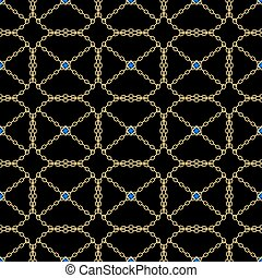 carrée, eps10, chaîne or, seamless, arrière-plan., vecteur, noir