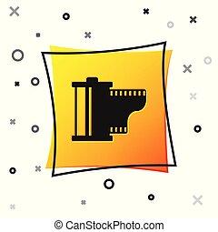carrée, equipment., jaune, pellicule, arrière-plan., vendange, isolé, filmstrip, appareil photo, noir, blanc, rouleau, cartouche, illustration, 35mm, bobine, icône, button., vecteur, canister., photographe, icon.