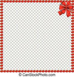 carrée, fête, ruban, pommes, frontière, rouges
