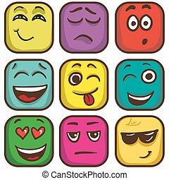 carrée, flat., coloré, emoticons, ensemble, emoji