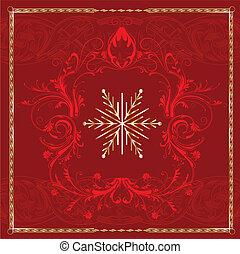 carrée, flocon de neige, rouges