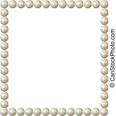 carrée, frontière, cadre, isolated., vendange, perle, élément, élégant, vecteur, conception, vide