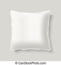carrée, gabarit, réaliste, vecteur, coussin, vide, blanc, oreiller