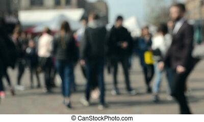 carrée, gens, autour de, promenade