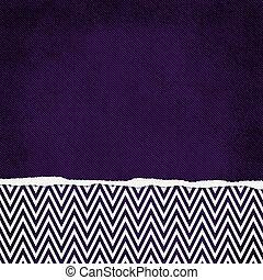 carrée, grunge, pourpre, déchiré, dos, zigzag, chevron, textured, blanc