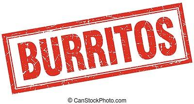 carrée, grunge, timbre, burritos, blanc rouge