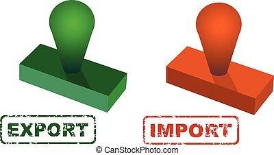 carrée, grunge, timbre, caoutchouc, exportation, cachet, importation